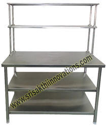 Rectangular Silver Stainless Steel Kitchen Work Table, Size: 35 X 35 X 30 Inch