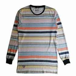 Cotton Printed Fancy Mens Full Sleeves T-Shirt, Size: M - XXL