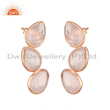 Rose Gold Plated Leaf Design Silver Rose Quartz Earrings Jewelry Supplier