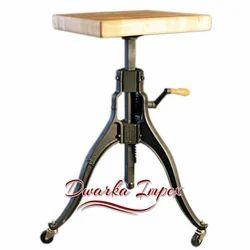 Dwarka Impex Adjustable Wheel Bar Stool