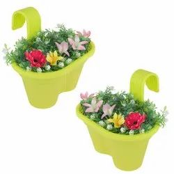 Green Oval Planter With Handle