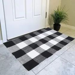 Indian Ethnic Handmade Black & White Check Print Floor Area Rug Carpet