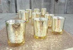 Mercury Gold Glass Tealight Holder