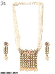 Priyaasi's Gold Plated Ruby Kundan's and Pearl Jewellery Set