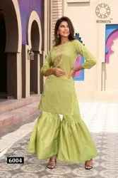 Womaya Silk Gota Pati Work Kurti with Sharara