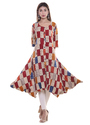 Designer Rayon Gown Pattern Kurti with Fancy Graphic Print