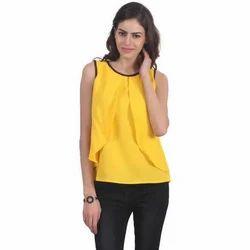 Yellow Casual Ladies Sleeveless Top