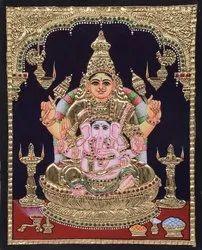 Ganesh with Lakshmi Tanjore painting