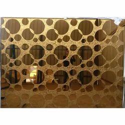 Flat Golden Pattern Glass, Size: 6 X 8 feet