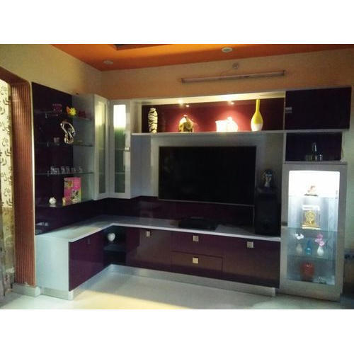 Pvc L Shape Modern Modular Kitchen Rs 850 Square Feet: L Shaped TV Wall Unit, Warranty: 1 Year, Rs 1800 /square Feet, Kitchen Interio Town LLP