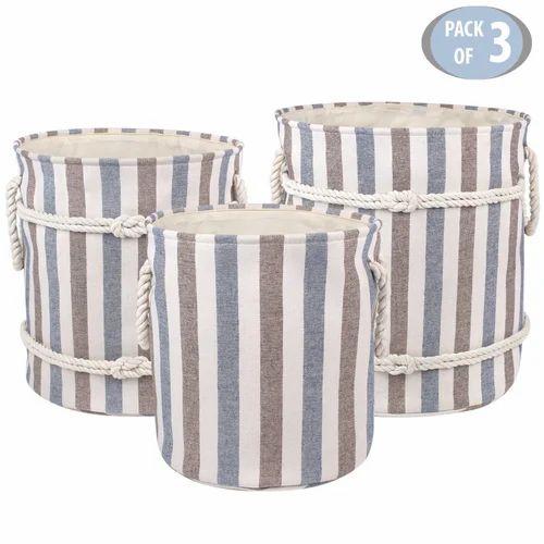 Multipurpose Laundry Basket Toy Storage Bag 3 Piece Set Small Medium Large