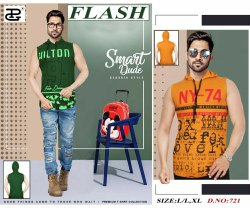 Cotton Printed Flash Mega Sleeveless Hooded T Shirt