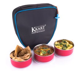 Kkart Microwave Safe Lunch Box: 3 Container, Capacity: 300 mL