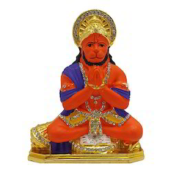 Gold Plated Hanuman Studded with Stone Car Dashboard Statue