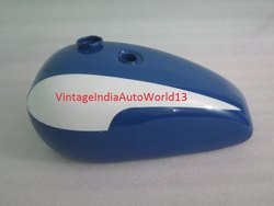 New Triumph T140 Blue And White Painted Oil In Frame Gas Petrol Tank (Us Version