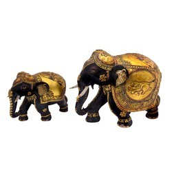 Gold Plated Wooden Elephant Set
