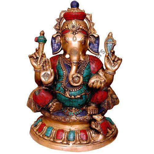 Golden Gold Plated Lambodar Ganesh Idol 2 Feet