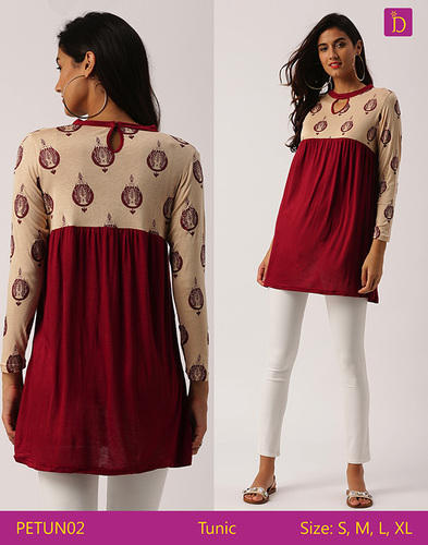 4b7db1e7377 Indusdiva and New Tunic Tops Tunics For Women Thigh Length Tunic With Three  Quarter Sleeves Tunic