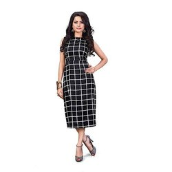 Check Ladies Designer Rayon One Piece Dress