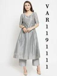 Grey Cotton Wedding Wear Kurtis, Size: Medium, Bleach Wash