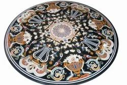 Black Marble Dining Round Inlay Marquetry Mosaic Table Top