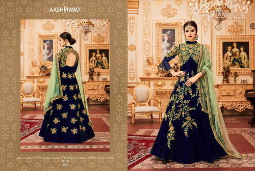 Thankar Designer Suit With Pari Silk With Coding & Chain Stich Embroidery Work With Stone, Size: Semi Stitched