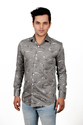 Grey Slim Fit Vida Loca Men Satin Cotton Printed Shirt