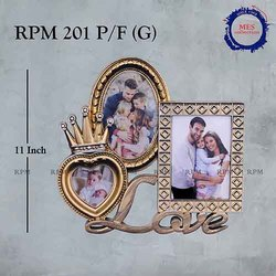 Plastic Golden Crown Love Photo Frame, Size: 11 Inch