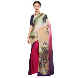 Multicolored Chiffon and Georgette Casual Wear Printed Saree