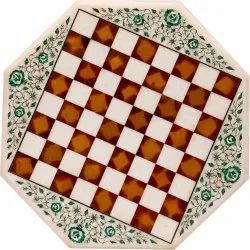 White Marble Stone Inlaid Dining Table Top