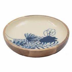Enamel Print Floral Design Wood Bowl