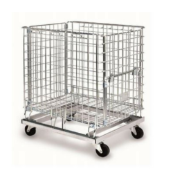 Rolling Durable Wire Mesh Bins with Grid pattern