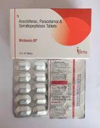 Nicloace-SP Aceclofenac, Paracetamol & Serratiopeptidase Tablets