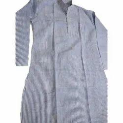 Light Blue Mens Striped Cotton Khadi Kurta