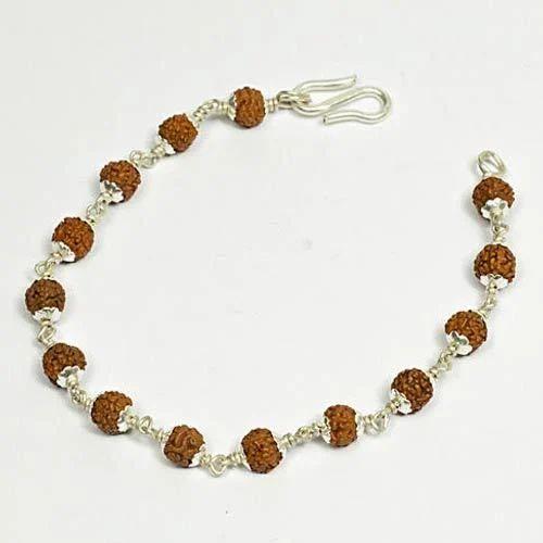 cf19cf510fa Rudraksha 5 Mukhi Silver Cap Bracelet, Rudraksh Bracelet ...