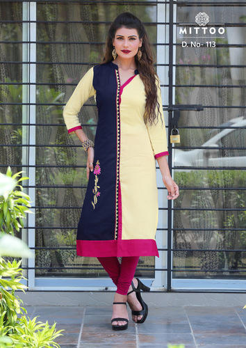 65f151f8d8 3/4th Sleeve Mittoo Panchhi Rayon Embroidery Kurti, Size: XL, XXL& 3XL