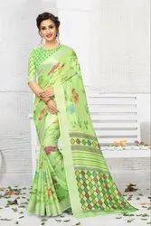 linen print saree