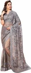 Net Embroidered Sarees, 5.5 m (Separate Blouse Piece)