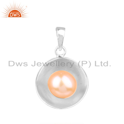 Moon Design Sterling Silver Natural Pearl Pendant Jewelry