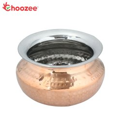 Choozee - Steel Copper Punjabi Serving Handi Bowl (400 ml)