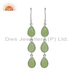 Prehnite Chalcedony Gemstone Sterling Fine Silver Earring