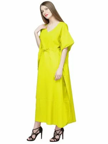 0469cc58a4 Skavij Cool Kaftans Embroidered Robe Cotton Caftan Nightgown Beach Cover Up  Plus Size - Yellow