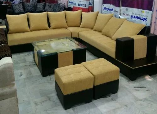 L Shape Wooden Corner Sofa Set Seating Capacity 10 Seater Hall