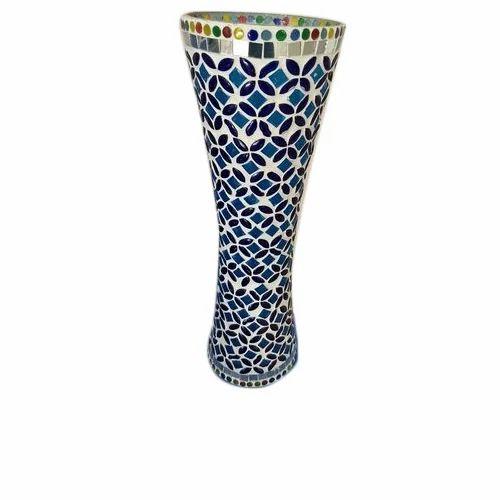 Multicolor Floral Mosaic Flower vases, Size: Medium, Shape: Curved Shape