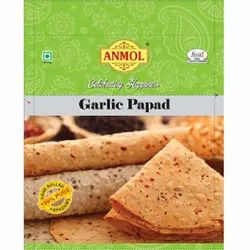 Round 6 Months Chana Garlic Papad, Packaging Size: 400 Gm, Size: 7 Inch