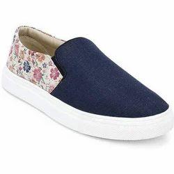 Casual Blue Ladies Navy Denim Slip On Shoes