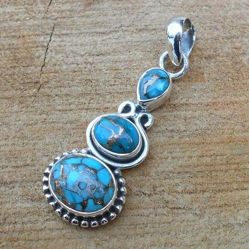 Turquoise Sterling Silver Gemstone Pendant