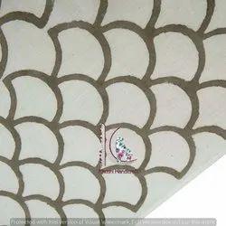 Gray Half Circle Hand Block Bagru Print Cotton Fabric