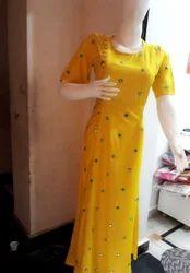 Yellow Rayon Kurtis