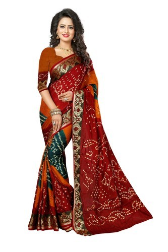 d790610054 Silk Multicolor Surti Bandhani Saree, Rs 1149 /piece, Kumkum Fashion ...